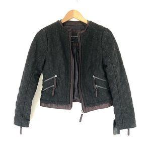 NWT Zara Moto Quilted Wool blend Tweed Jacket M